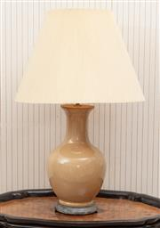Sale 8881H - Lot 35 - A pair of baluster ceramic lamps in natural tone. H 38cm, total height with shade 72cm