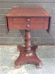 Sale 8956 - Lot 1024 - Early Victorian Mahogany Small Pembroke Table Fitted with Two Drawers on Turned Pedestal and on Quadraform Base  (H:75 x W:61 x D:44cm)