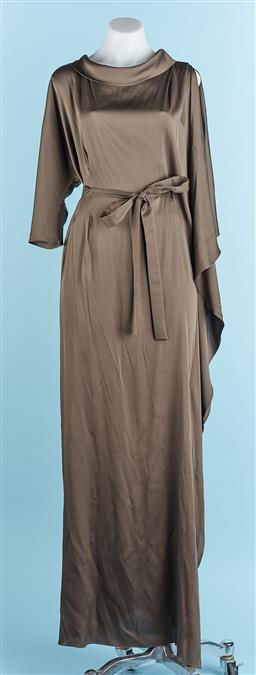 Sale 9091F - Lot 75 - A CARL KAPP OLIVE GREEN GRECIAN DRESS, with tie (some marks) size M