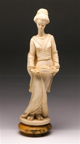 Sale 9098 - Lot 221 - Composite Figure Of A Lady On Alabaster Base, Chipped H:42cm