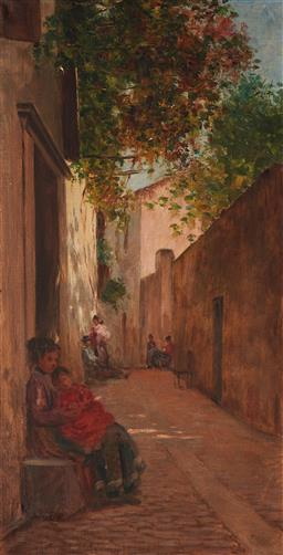 Sale 9125A - Lot 5055 - Spanish School (c19th) - Mother & Child in the Laneway 67.5 x 34.5 cm (frame: 76 x 44 x 5 cm)