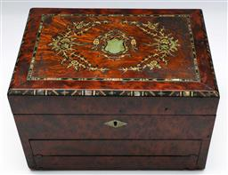 Sale 9138 - Lot 26 - A Flame Mahogany And Inlaid Writers Box With Hidden Slope (H:18cm W: 28cm D: 20cm)
