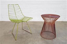 Sale 9151 - Lot 1453 - Metal garden chair and side table (h:80 x 51cm)