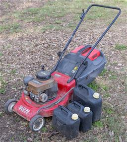 Sale 9191W - Lot 745 - A Victa Sprint 375 lawnmower together with three fuel cans