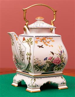 Sale 9260M - Lot 20 - A Chinese porcelain teapot on stand depicting nature scenes H 30cm W 20cm