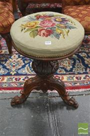 Sale 8282 - Lot 1054 - Victorian Rosewood Piano Stool, with tapestry top & on heavily carved pedestal (mechanism repaired)