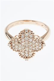 Sale 8322J - Lot 363 - AN 18CT ROSE GOLD DIAMOND RING; quatrefoil mount pave set with 39 round brilliant cut champagne diamonds and four white diamonds, si...