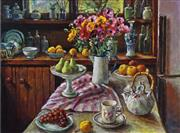 Sale 8492A - Lot 5043 - Margaret Olley (1923 - 2011) - Ranunculus & Pears 51 x 68cm (frame size: 80 x 95cm)