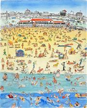 Sale 8484 - Lot 501 - Peter Kingston (1943 - ) - Busy Bondi, 1995 44.5 x 36cm
