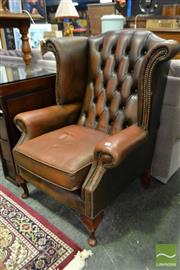 Sale 8507 - Lot 1054 - Leather Wing Back Armchair