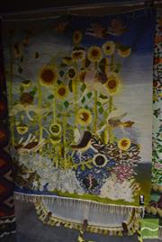 Sale 8532 - Lot 1157 - Egyptian Hand Made Rug Depicting Sunflowers and Birds (203x200cm)