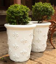 Sale 8871H - Lot 34 - A pair of tall French style white glazed ceramic planters planted with buxus, height 65, diameter 58cm (height does not include plant)