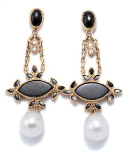 Sale 9177 - Lot 359 - A PAIR OF PEARL AND ONYX EARRINGS; 41mm long articulated drops set with onyx, seed pearls and 7.3 x 7.6mm drop shape cultured freshw...