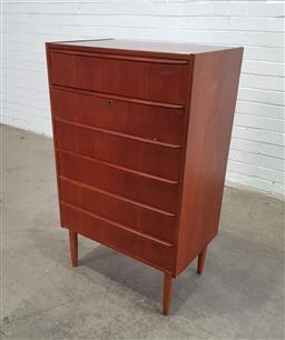 Sale 9151 - Lot 1064 - Teak elevated 6 drawer chest (h:104 x w:63 x d:40cm)