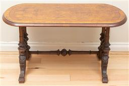 Sale 9165H - Lot 104 - A Victorian Walnut Occasional table with a stretcher support and finial detailings. Height 51cm x Width 97cm Depth 48cm