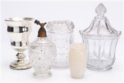 Sale 9185E - Lot 127 - A collection of glasswares including atomiser and an alabaster bud vase