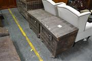 Sale 8013 - Lot 1469 - Pair Of Lift Top Timber Trunks (A.F)