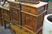 Sale 8277 - Lot 1063 - Pair of Timber Bedsides with Single Drawer & Door