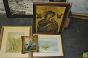 Sale 8425T - Lot 2052 - Collection of (5) assorted artworks including a watercolour by B. Coad and decorative prints, various sizes