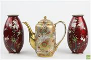 Sale 8546 - Lot 59 - Cloisonne Pair Of Red Satsuma Vases Together With Japanese Teapot