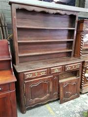 Sale 8634 - Lot 1044 - Good 18th Century French Walnut Vaiselier or Dresser, the open shelves with shaped frieze, above three various length drawers, two s...