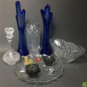 Sale 8648A - Lot 121 - Blue Art Glass Pair of Vases with Other Glass & Crystal incl. Orrefors