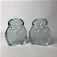 Sale 8725A - Lot 3 - A pair of Blenko Vintage clear art glass Owl form bookends by Joel Myers. Height 17.5cm