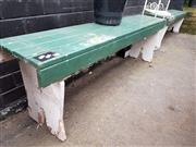 Sale 8740 - Lot 1262 - Pair of Painted Rustic Three Seater Outdoor Benches