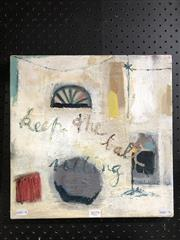 Sale 8794 - Lot 2074 - Val Landa - Keep the ball rolling, acrylic on canvas, 35.5 x 35.5cm, signed