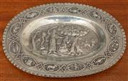 Sale 8976H - Lot 4 - An Austro-Hungarian silver dish, chased with an Old Testament scene of the sacrifice by Moses, the border with signs of the zodiac,...