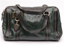 Sale 9132 - Lot 403 - A GUCCI DARK GREEN AND BLACK MINI DUCHESSA BOSTON BAG; features soft leather body with cream contrast stitching, flat leather straps...