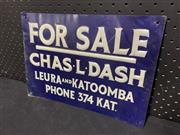 Sale 9092 - Lot 1010 - Pressed tin FOR SALE sign (h:24 x w:34cm)