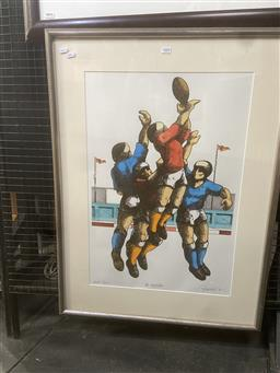 Sale 9094 - Lot 2008 - James Willebrant (1950 - ) The Footballers hand-coloured lithograph ed. AP , 94 x 74cm (frame) signed -