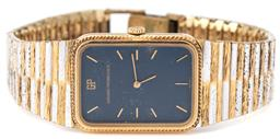 Sale 9124 - Lot 436 - A GIRRARRD-PERREGAUX MANUAL WRISTWATCH; rectangular blue dial, applied baton markers, gold plated case and 2 tone band, case width 2...