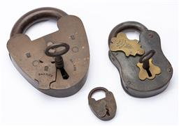 Sale 9130E - Lot 82 - A group of three padlocks including two with keys, Largest Length 14cm