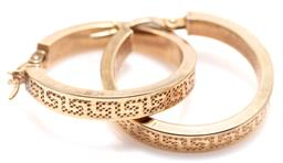 Sale 9145 - Lot 334 - A PAIR OF 9CT GOLD HOOP EARRINGS; 4mm wide hollow hoops with Greek key pattern to lever back fittings, length 23mm, wt. 2.09g.