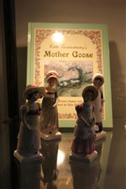 Sale 7998 - Lot 68 - 4 Royal Doulton Kate Greenaway Figures a.f and Book