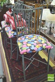 Sale 8338 - Lot 1449 - Set of Four Metal Chairs with Floral Print Upholstered Seats
