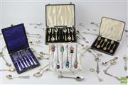 Sale 8529 - Lot 193 - Sterling Silver Tea Spoons Together With Plated Examples