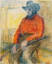 Sale 8606 - Lot 524 - Hugh Sawrey (1919 - 1999) - The Cowboy 48.5 x 40cm