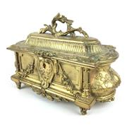 Sale 8607R - Lot 8 - C19th Electro Plated Bronze Jewellery Casket with Original Lining (W: 22cm)