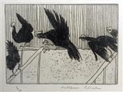 Sale 8756A - Lot 5005 - William Robinson (1936 - ) - Rooster in Flight with Hens, 1979 39 x 32.5cm