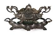 Sale 8770A - Lot 12 - An antique French two piece cast metal flower bowl or table centrepiece, 38 x 23 cm