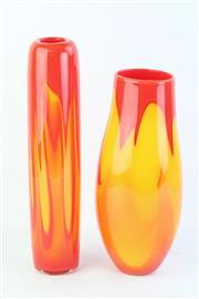 Sale 8796 - Lot 7 - Keith Rowe (2 works) Inferno glass vases h.35cm; h.40cm