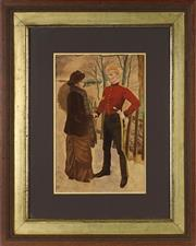 Sale 8848 - Lot 1097 - An Edwardian Framed Chromolithograph Print, of a soldier saying farewell, frame: 76 x 61cm