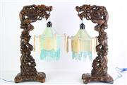 Sale 8840S - Lot 681 - Pair Of Carved Chinese Table Lamps, H51.5cm