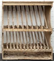 Sale 8942H - Lot 51 - A distressed pine plate rack of two tiers, Height 81cm, Width 75cm x Depth 23cm
