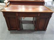 Sale 8956 - Lot 1033 - A Late 19th Century French Walnut Twin Pedestal Desk with tooled brown leather top, three drawers and two panelled doors (H:78 x W:1...