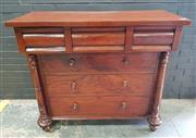 Sale 8993 - Lot 1036 - Interesting 19th Century Cedar Chest of Six Drawers, with two cantilevered cushion shaped drawers & three long, flanked by half-col...