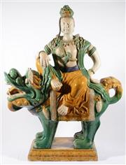 Sale 9010 - Lot 7 - A Very Large Ceramic Tang Sancai Style Figure Of Guanyin On Temple Dog (H:91 W:70 D:26cm)